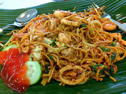 Seafood stir-fried noodle (mie goreng seafood), Indonesian, yummy!