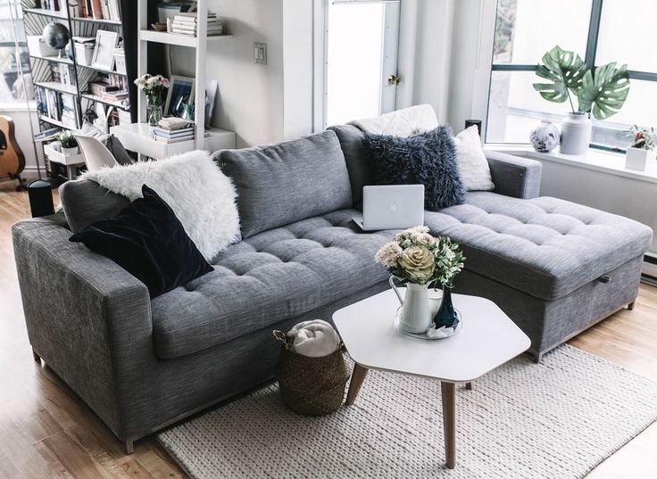 Gray Sofa Bed, Right Sectional, Metal Legs   Article Soma Modern Furniture