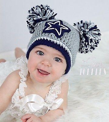 Crocheted DALLAS COWBOYS Hat Cap beanie baby girl boy ears or pom poms GRAY
