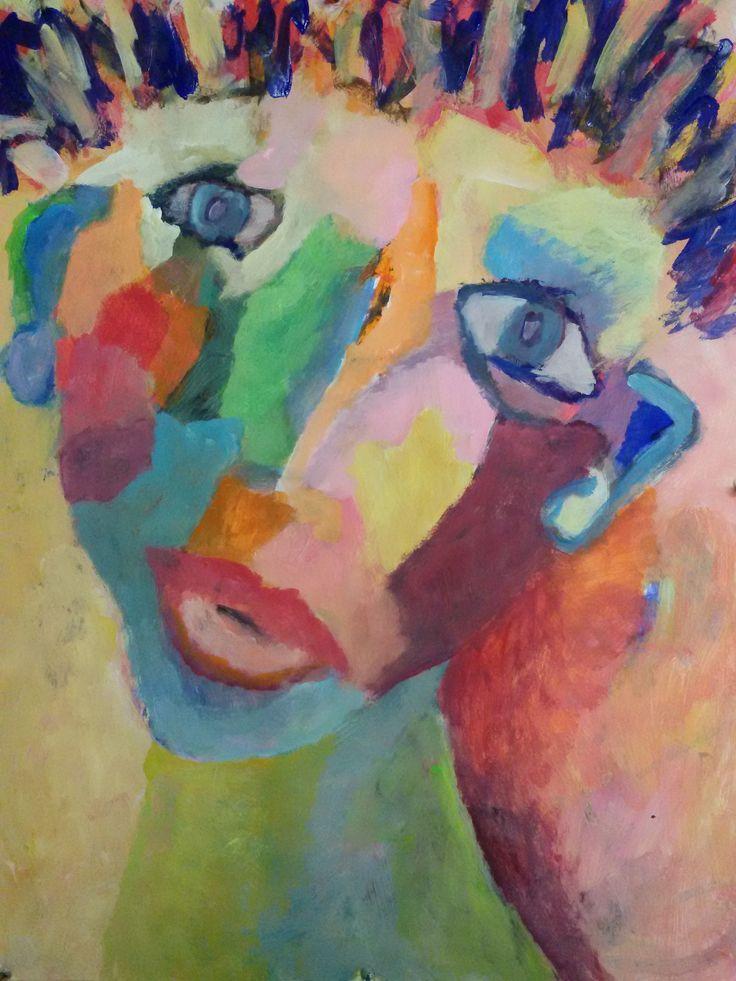 Attentivement acrylique sur toile Peinture de Aube VRBICA