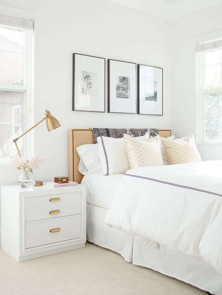 simple white bedroom upholstered headboard, bedroom art