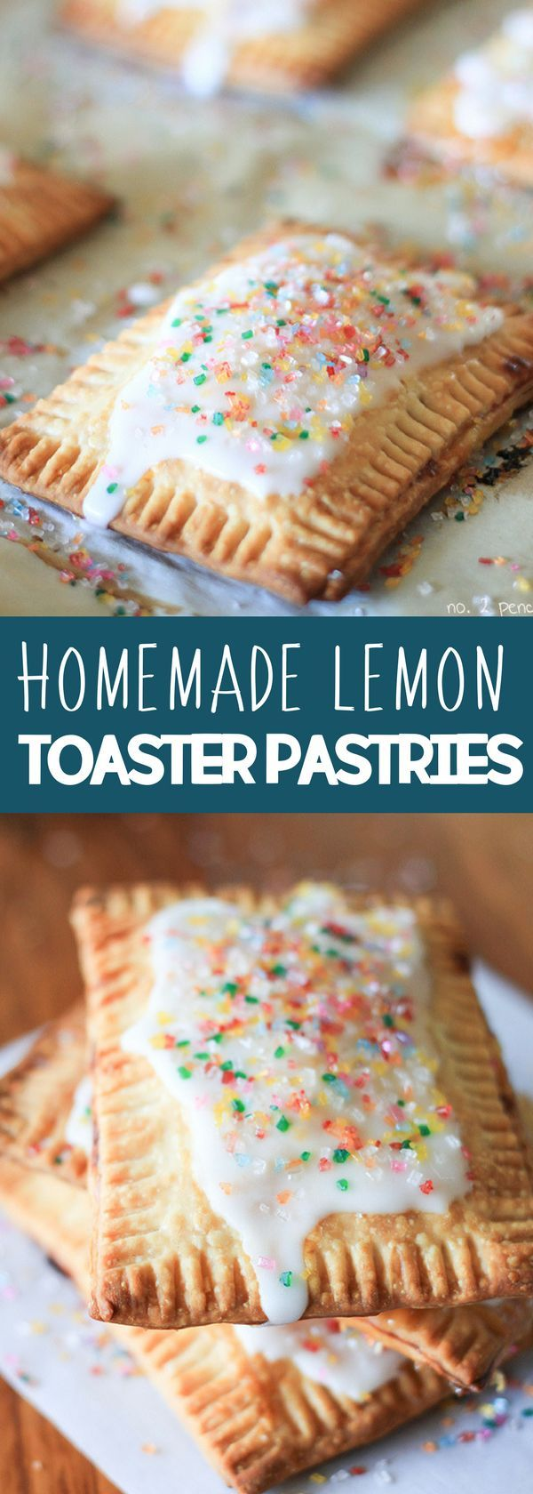 Homemade Lemon Toaster Pastries - easy to make and really delicious. I used store-bought lemon curd and pre-made pie dough to whip these up in just a few minutes. Top with lemon glaze and rainbow sugar sprinkles making it a delicious sweet treat! For more easy food recipes, creative craft ideas, easy home decor and DIY projects, check us out at #no2pencil. #food #drooling #sweettooth #recipeoftheday #recipeideas