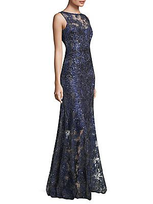 Elie Tahari Embroidered Floor Length Gown