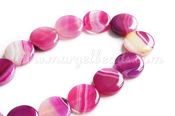 1.70€/piece - Agate Flat Round 25x5mm by Margelbeads on Etsy