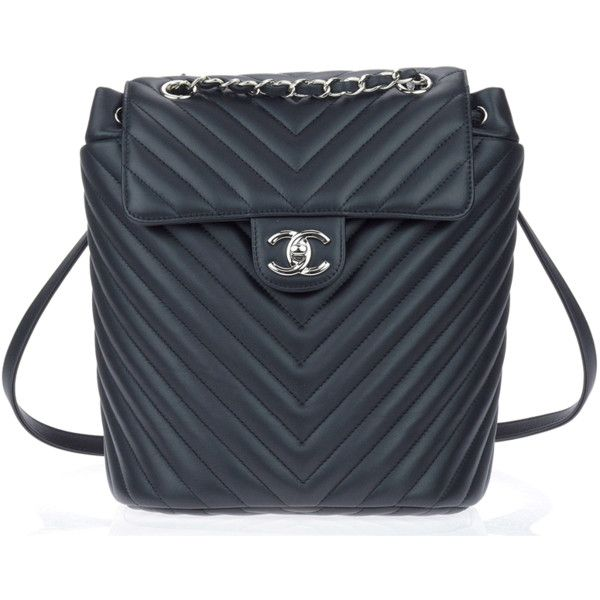 Chanel Pre-Owned: Chanel Black Calfskin Leather Chevron Urban Spirit... (€6.555) ❤ liked on Polyvore featuring bags, backpacks, black, handbags, chevron backpack, backpacks bags, day pack backpack, urban backpack and chanel bags