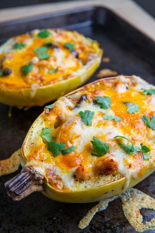 Chicken Enchilada Stuffed Spaghetti Squash - a delicious and hearty fall dish!