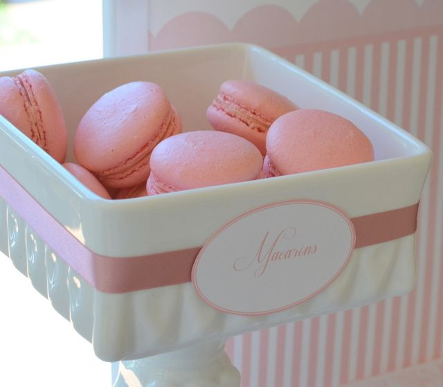 Gorgeous pink macarons at a girl Baptism. See more party ideas at CatchMyParty.com! #baptism #partyideas