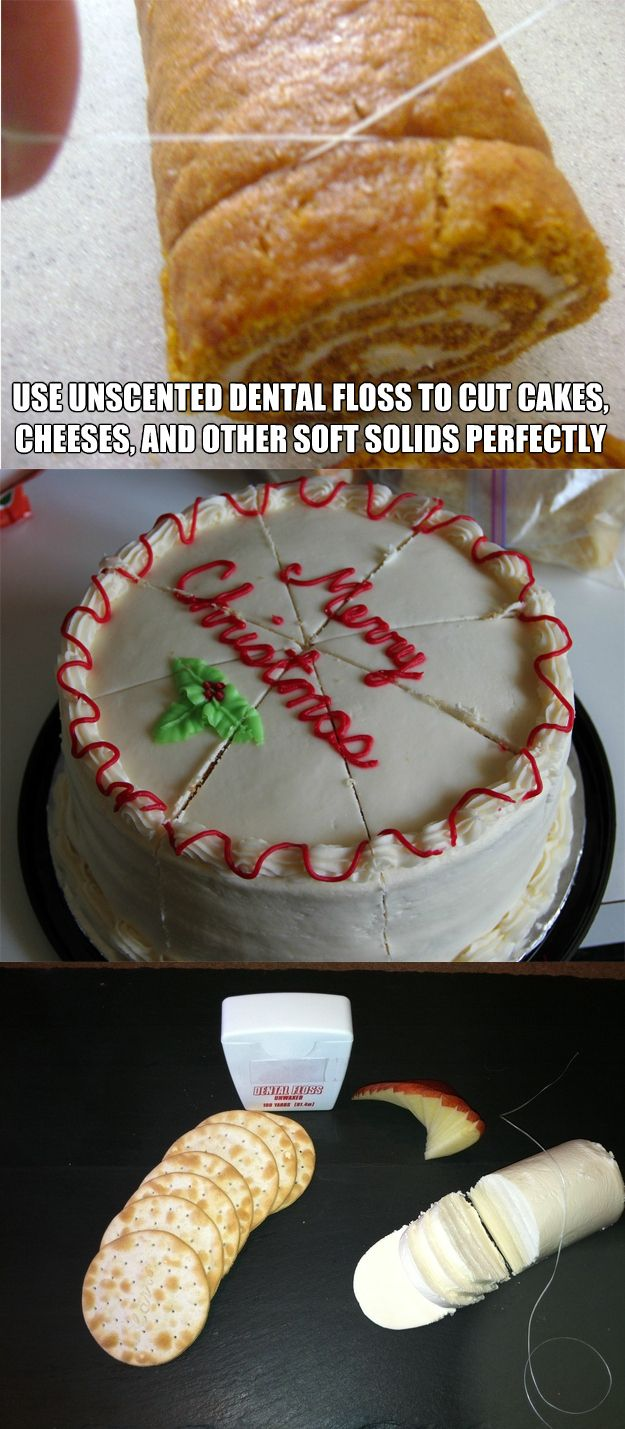 How to cut food the right way - certain foods are better cut with dental floss - it works great we used it at a restaurant - cake roll - regular cake - cheesecake -rolled cookies - cheese