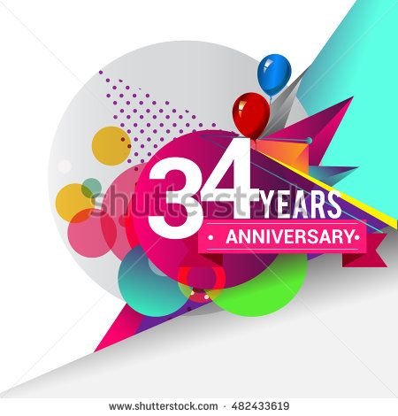 34 years Anniversary logo, Colorful geometric background vector design template…