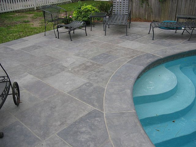 Stamped concrete decking - looks like slate