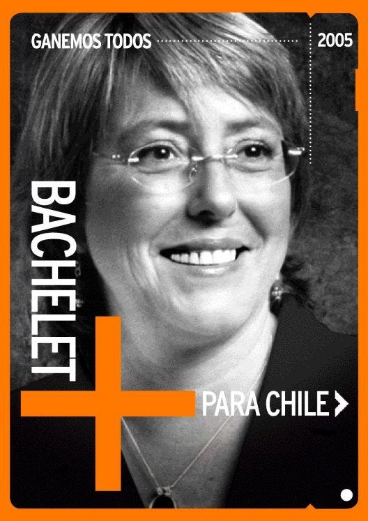 Cartel de la candidata Michelle Bachelet para las primarias de la Concertación 2005. Chile.