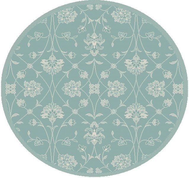 Piazza Blue Floral Outdoor Area Rug