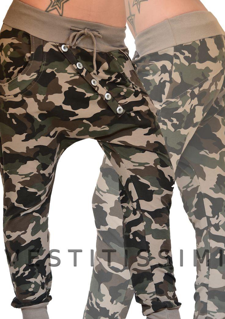 Pantalone donna sportivo fitness colore tortora con chiusura a bottoni, tasche, fascia elastica in vita e chiusura con laccio.
