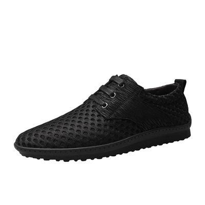 Мужские летние повседневные туфли на шнуровке, большие размеры