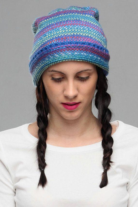 Winter knit hat, slouch hat