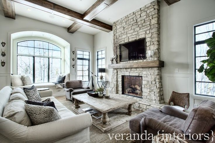 Watching Tv In Style Design Chic Great Stone Fireplace