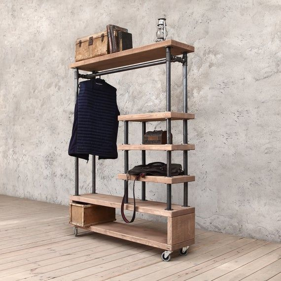 Tay Industrial Style Wooden Metal Clothes Rail Rack Stand Etsy In 2020 Industrial Style Furniture Clothes Rail Diy Clothes Rack