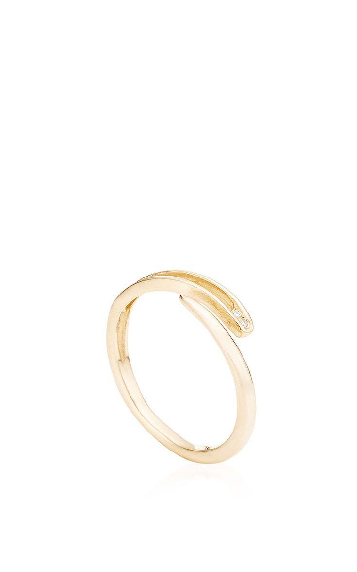 Needle Ring With Diamonds by Lauren Klassen for Preorder on Moda Operandi