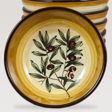Soup Bowl in Brown Olive Pattern - A beautiful ceramic soup bowl decorated with brown olives, leaves and branches on a white background. $40.99 #brown #tablesetting