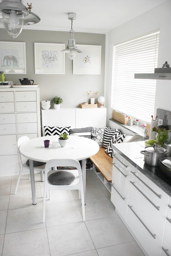 Black And White Kitchen With Cute Breakfast Nook