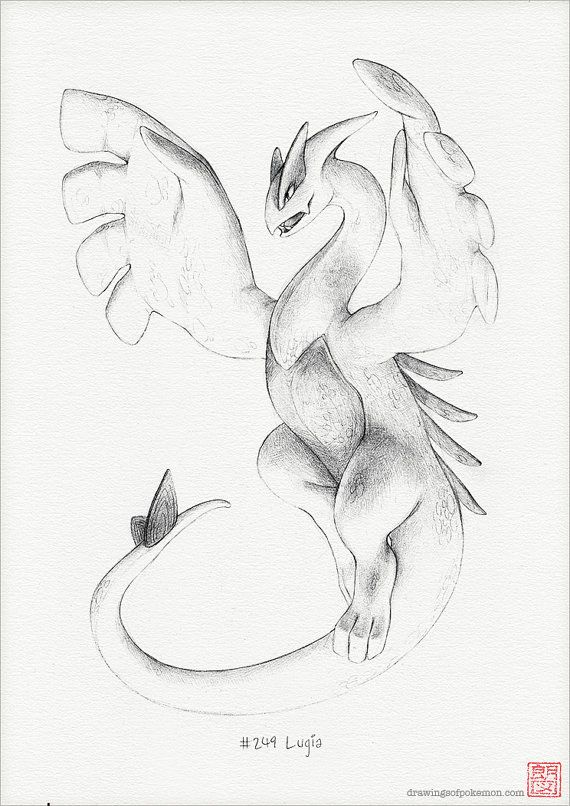 Lugia A4 print pokemon drawing art artwork by RockyHammerEtsy