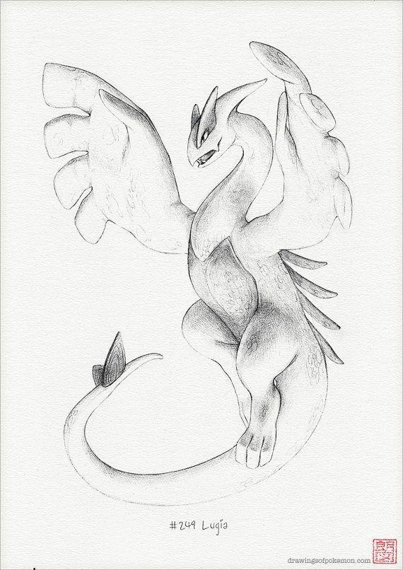 Lugia - A4 print (pokemon drawing, art, artwork, gaming, nintendo, decor)