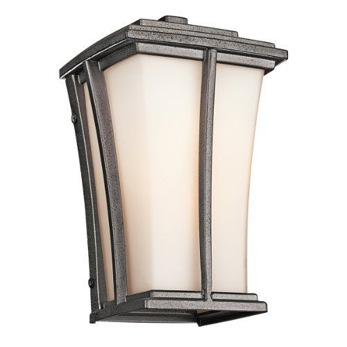 Kichler Lighting Kichler 49214AVI Brockton 1-Light Outdoor Wall Lantern, Anvil Iron with Satin-Etched Cased Opal Glass by Kichler. $66.00. The Kichler Lighting 49214AVI Brockton 1-Light Outdoor Wall Lantern displays a subtle elegance. The neutral tones of the anvil iron finish interact stunningly with the satin-etched cased opal glass. The cast aluminum cage is embellished by its textural appearance adding depth and character. Whether you are looking for that pe...