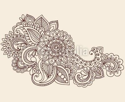 Henna anstract flowers paisley design element vector vinyl for Back mural tattoo designs