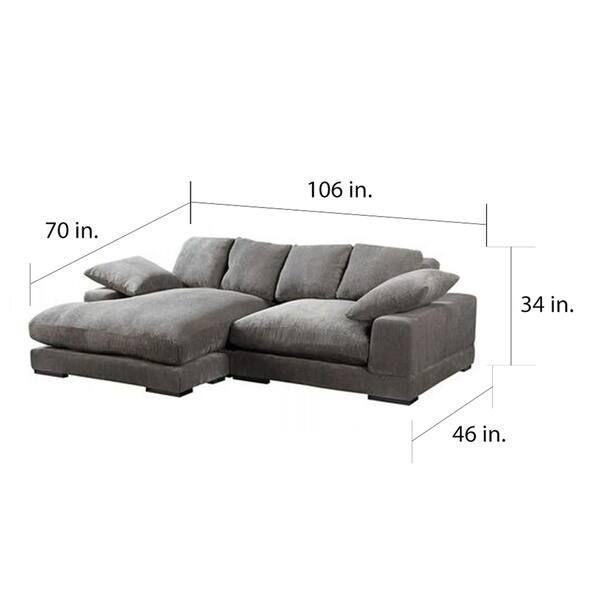 Aurelle Home Reversible Deep Seat Contemporary Sectional ...