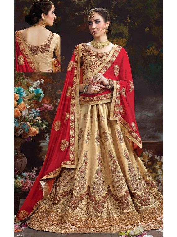 Dazzling Red and Cream Designer Indian Lehenga Choli
