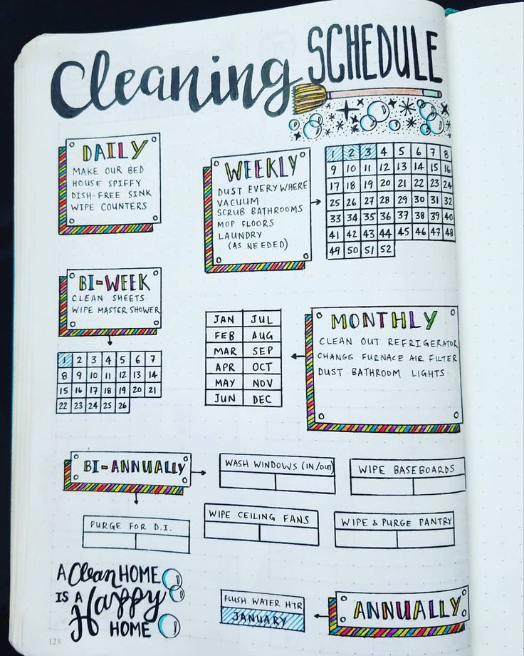 """748 Likes, 41 Comments - Micah (@my_blue_sky_design) on Instagram: """"Cleaning Schedule Spread - 2017 I've been wanting to make a #cleaning schedule for weeks! I'm so…"""""""