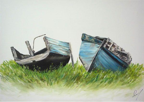 Bateaux échoués dans le port du Fret (Crozon). Tableau en peinture (huile).