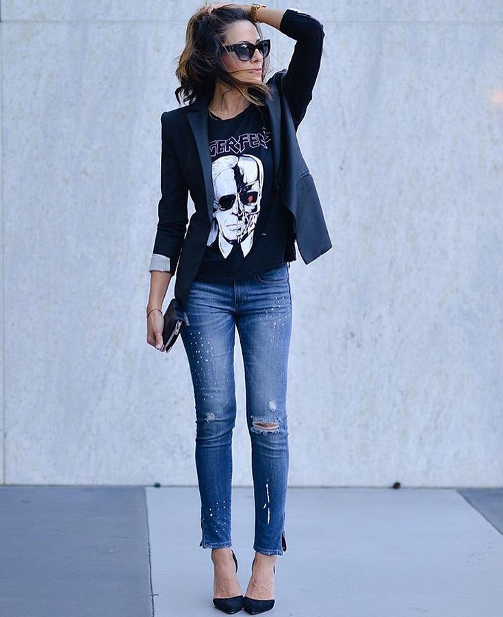 Last night Halloween Inspo from blogger @lucyswhims wearing our Karl Lagerfeld Terminator Tee. Available in stores & online www.azzurracapri.com #FallTrends #Fashion #ThePerfectTee #KarlLGerfield #Channel #Halloween #BlackJacket #FashionBlogger #RippedJeans