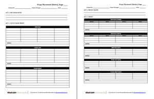 Prop List Forms for Props Masters and Stage Techs: Preliminary Props Placement Form (Notes)