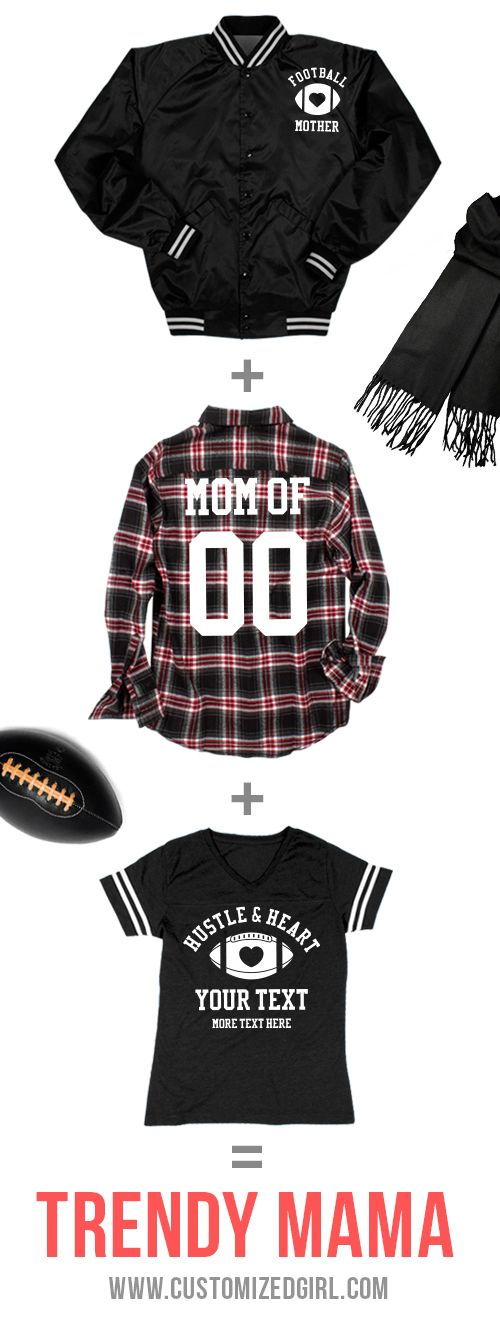 Football moms cheer the hardest and yell the loudest. Customize a football mom shirt, sweatshirt, or jacket to show support for your favorite player this season! #footballmom