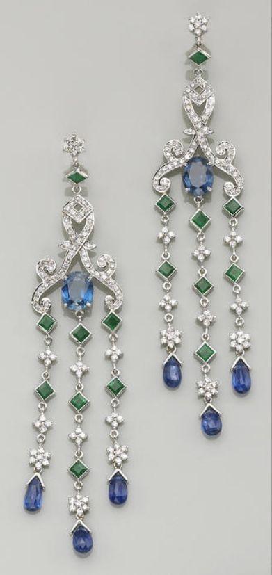 A pair of sapphire, kyanite, emerald, diamond and eighteen karat white gold…