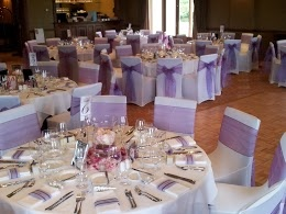 Room Makeover using White Lycra Chaircovers & Two Toned Purple Organza Chair Sash @ Chateau Yering