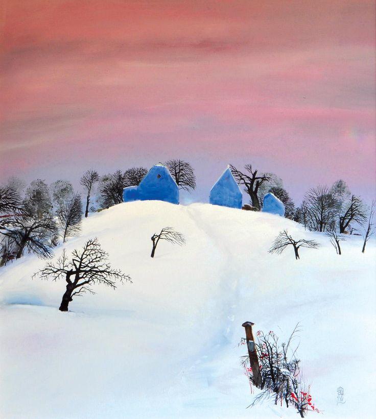 pictorul Ştefan Câlţia: Iarna cu cer rosu