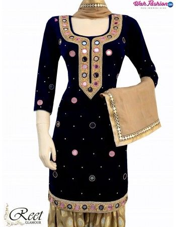 Attract everyone with your stunning look when you adorn this Elegant Black & Beige Mirror Worked Punjabi Suit. Embellished with heavy embroidery work & mirror work on Top. Available with matching bottom & dupatta. For more details whatsapp us: +919915178418