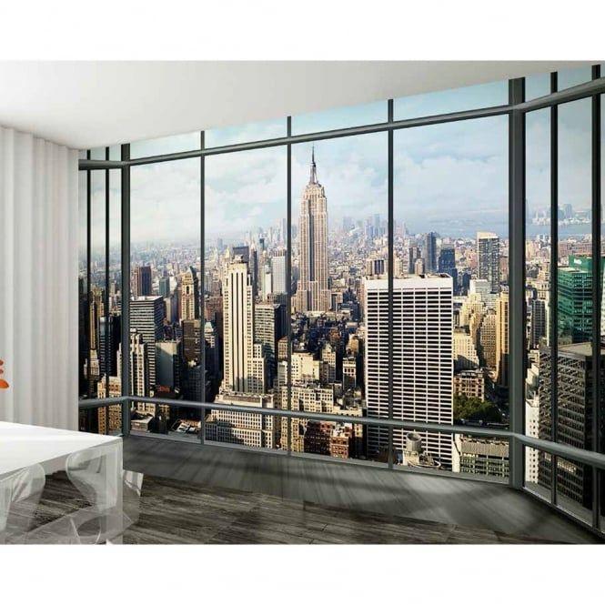 1 Wall New York Window Skyline Giant Wallpaper Mural W8P-NEWYORK-017