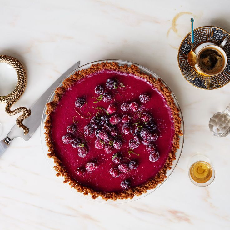The spirit of a Key lime pie in the guise of a luscious cranberry curd. The contrast between the snappy press-in crust and the tart filling in this recipe is pure genius.