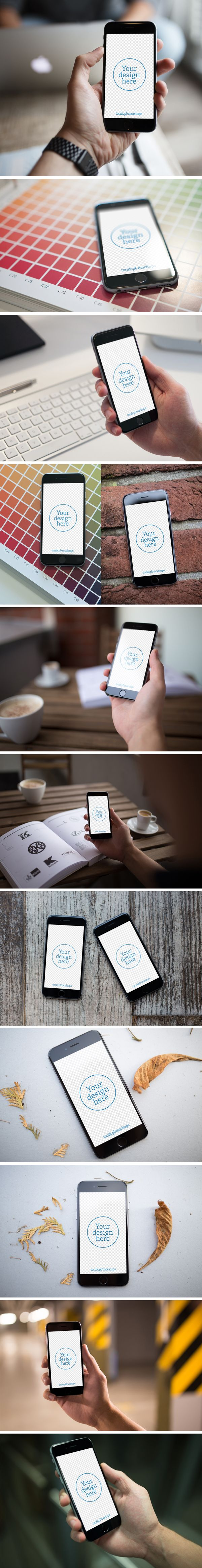 Free I-phone 6 mock ups. http://graphicburger.com/12-iphone-6-photo-mockups/