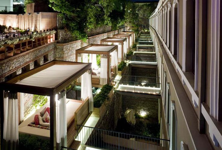 The W Hotel in Istanbul, Turkey, has private wooden cabanas attached to some of their rooms.