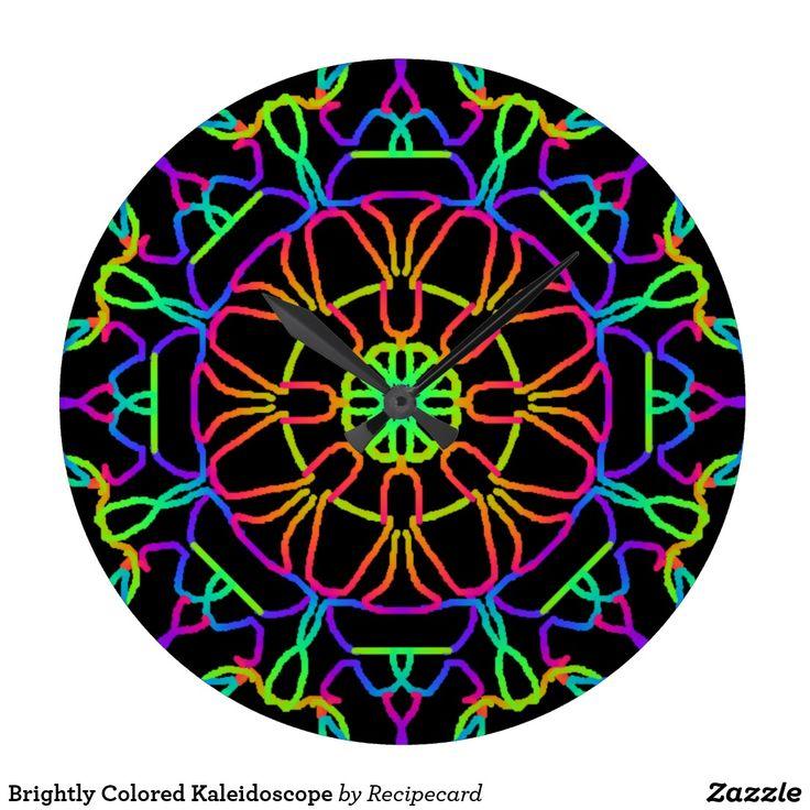 Brightly Colored Kaleidoscope Large Clock