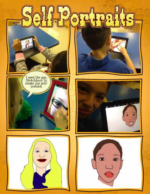 iPad self-portraits - using the app Sketchbook
