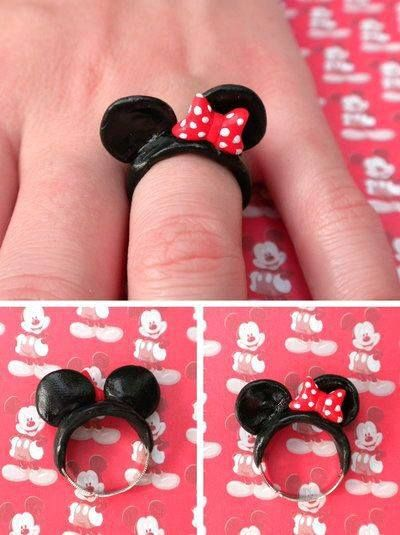 Anillo - ring - cold porcelain - porcelana fria - polymer clay - Minnie Mouse
