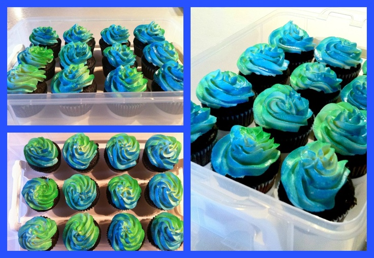 Cupcakes For A Boy S Baby Shower Spray Blue Color On One