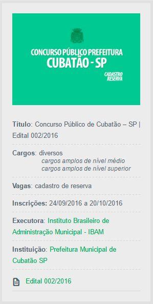 Publicado o edital do Concurso Público de Cubatão, através do qual serão supridas diversas vagas de empregos públicos.