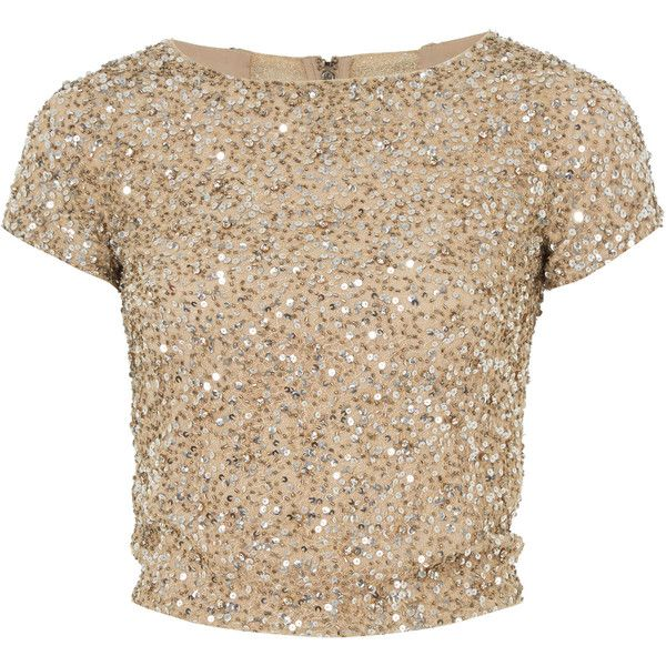 Alice and Olivia Gold Embellished Kelli Crop Top ($420) ❤ liked on Polyvore featuring tops, shirts, crop tops, blusas, blouses, embellished tops, gold top, beige crop top, shirt tops and short sleeve tops