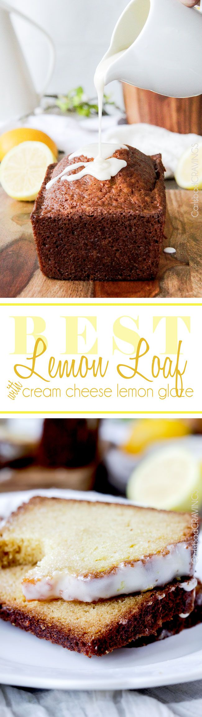 Best Lemon Loaf with Cream Cheese Lemon Glaze - Packed with three types of lemon, topped with the most tantalizing glaze for the perfect sweet citrus balance